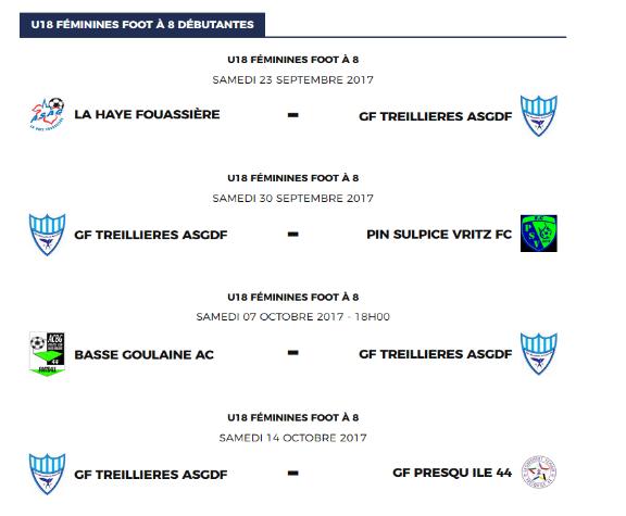 Calendrier de l'équipe U18 F en 1ère phase (Sept-Oct-Nov)