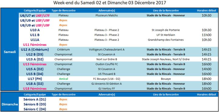 Agenda des 02 et 03 Décembre 2017