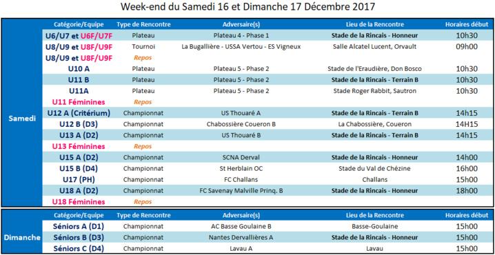 Agenda des 16 et 17 Décembre 2017