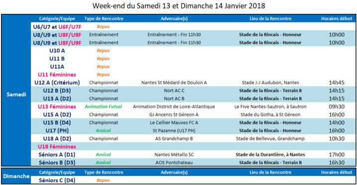 Agenda des 13 et 14 Janvier 2018
