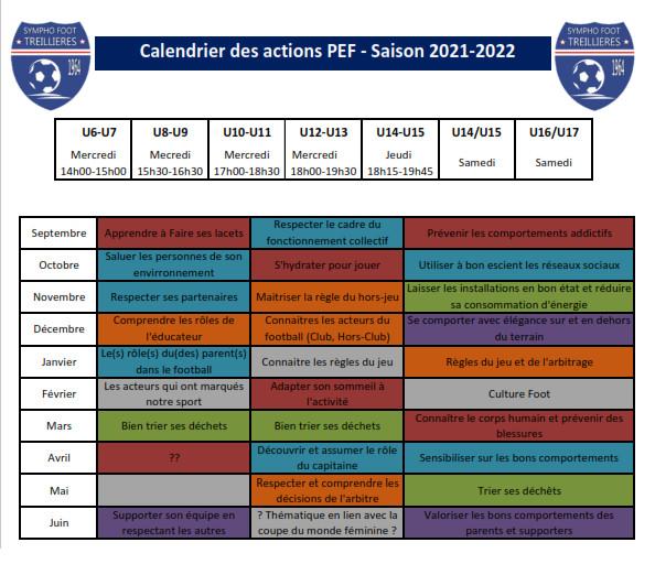 Planning Annuel du PEF - Saison 2018-2019