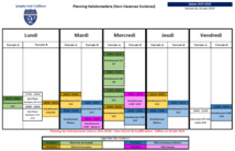 Planning des entraînements - Saison 2019-2020