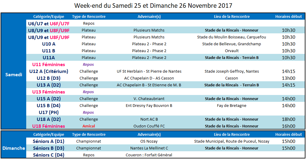 Agenda des 25 et 26 Novembre 2017