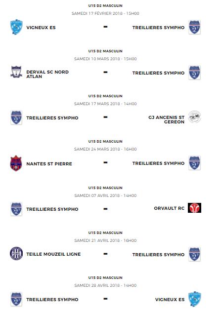 Calendrier des équipes U15 en 2ème phase