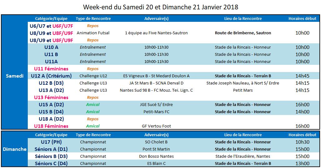 Agenda des 19 et 20 Janvier 2018