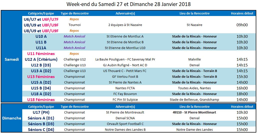 Agenda des 27 et 28 Janvier 2018