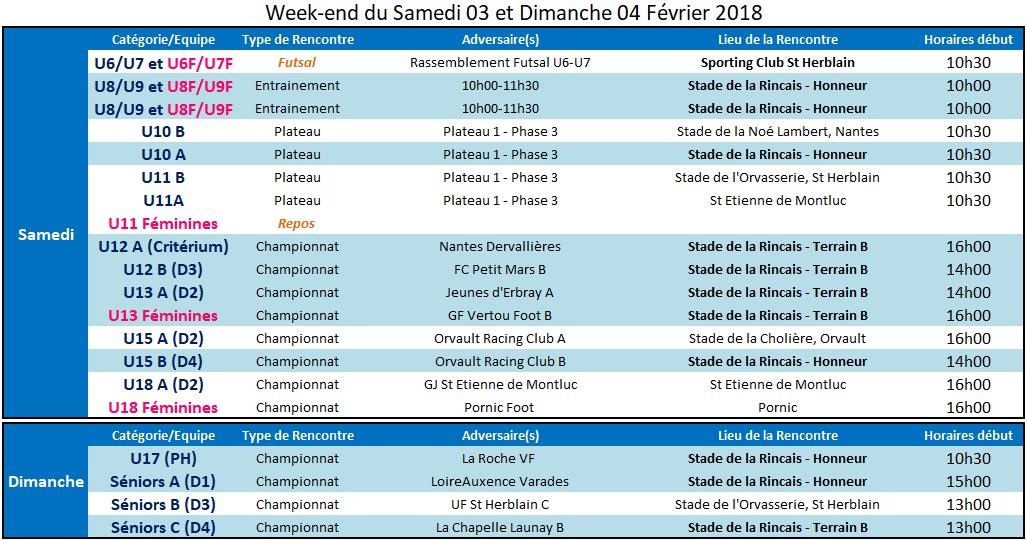 Agenda des 03 et 04 Février 2018