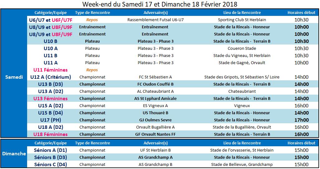 Agenda des 17 et 18 Février 2018